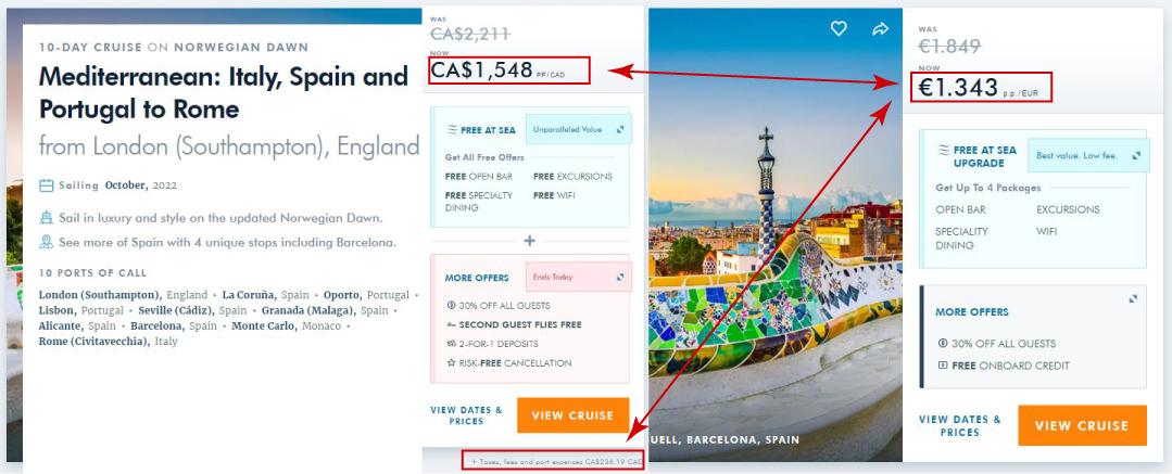 Cruise aanbod vergelijking